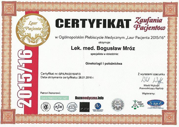 Certyfikat Zaufania Pacjentów dr Bogusław Mróz